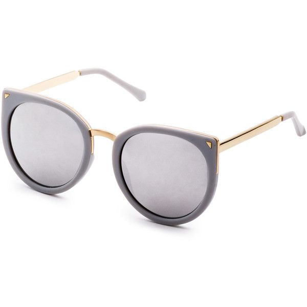 ae4dbe4800 SheIn(sheinside) Grey Metal Trim Cat Eye Sunglasses (69 HRK) ❤ liked on Polyvore  featuring accessories