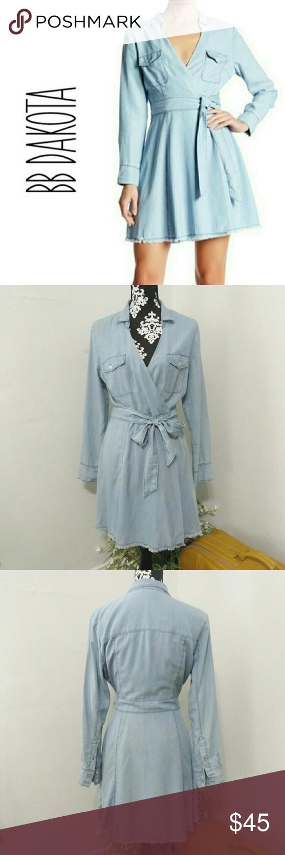 Bb dakota chambray gennesse long sleeve wrap dress in my posh