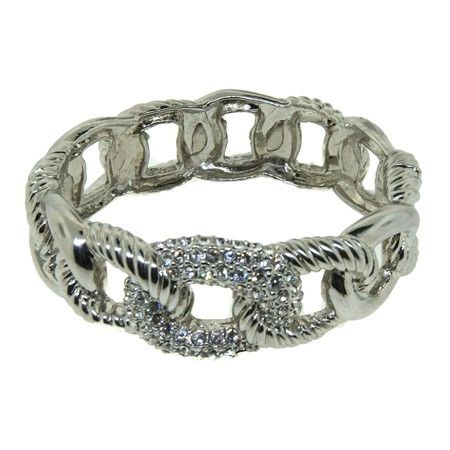 Designer Cable Style diamond CZ pave Bangle