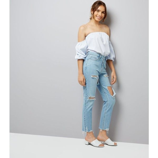 2e447b1c68 New Look Blue Ripped Tori Mom Jeans (£28) ❤ liked on Polyvore featuring  jeans