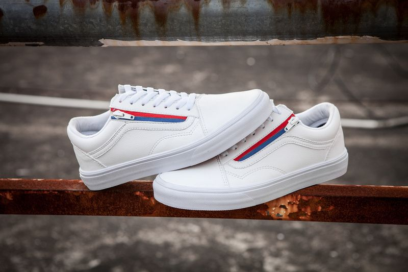 e7a30b86d8 Vans old skool ZIP first layer cowhide red and blue color zipper series  couple casual skateboard shoes 35-4410  Vans