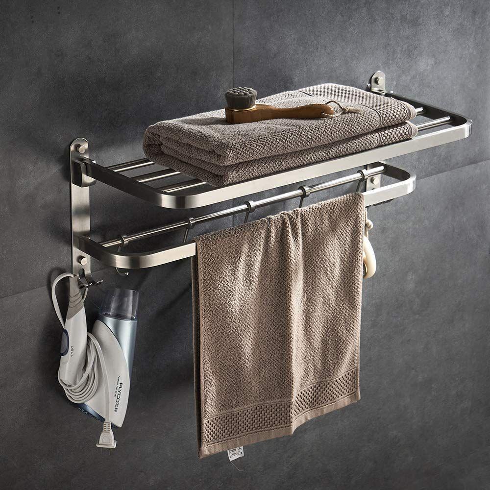Yj Yanjun Hotel Towel Rack With Towel Shelf Brushed Nickel 24 Inch Towel Racks For Bathroom Wall Mou Hotel Towels Towel Rack Bathroom Towel Rack