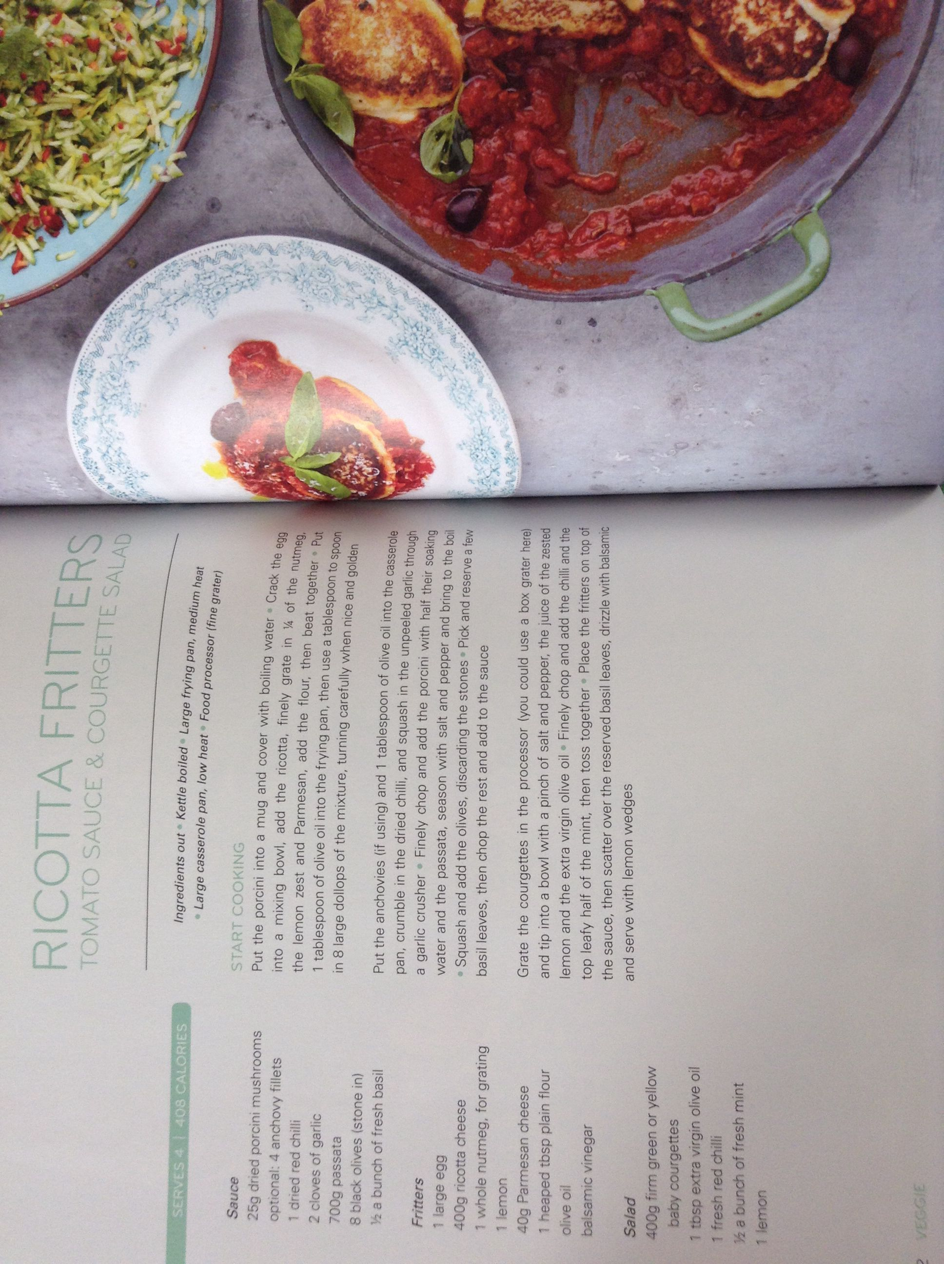 Jamie Oliver's ricotta fritters with tomato sauce and courgette salad
