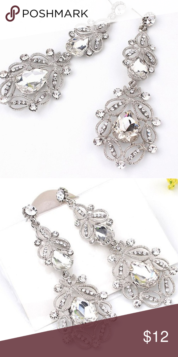 White Crystal Chandelier Earrings