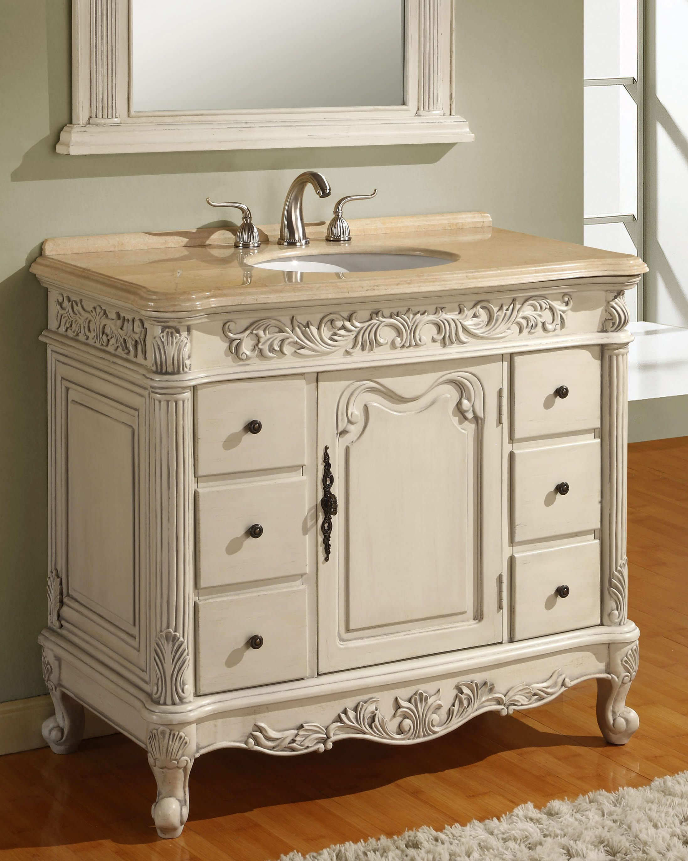 Antique Style 40 Inch Bath Vanity Item 4340 One Shelf Six