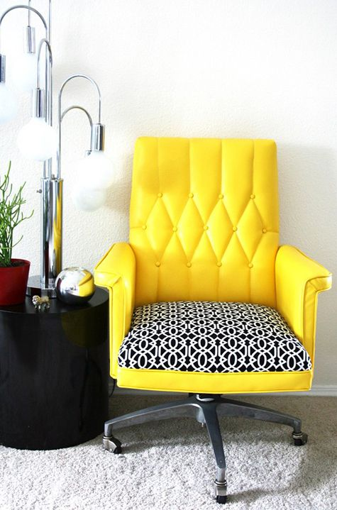 Bright Yellow Chair For A Colorful Home Office.