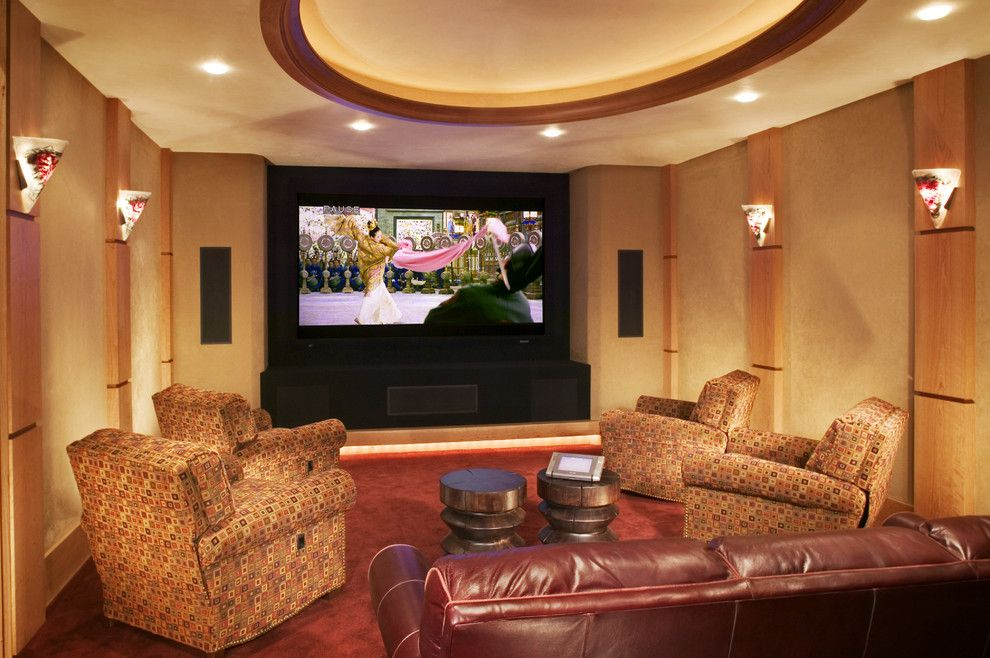 View toward the rear of the home theater. Cabinets on the back right house all the components. Two level seating with soft leather sofa is in theu2026 & View toward the rear of the home theater. Cabinets on the back ... azcodes.com