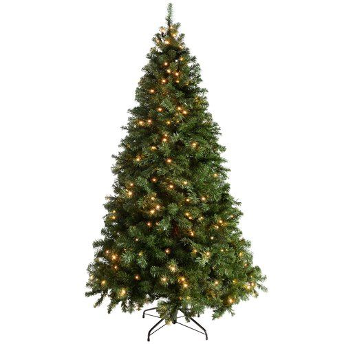 The Seasonal Aisle Multi Function 7ft Green Spruce Artificial Christmas Tree With 300 Clear White Lights With Stand White Artificial Christmas Tree Flocked Artificial Christmas Trees Christmas Tree
