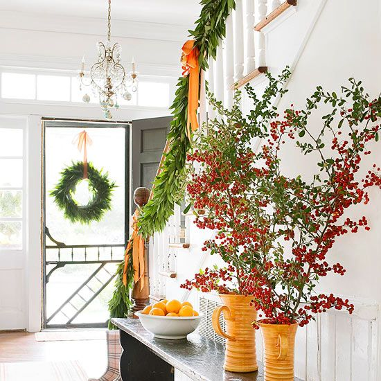 Red + Green + Orange for Christmas - love the screen door