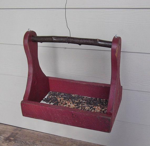 Rustic Wood Bird Feeder Repurposed Red Tool Caddy by Milepost7