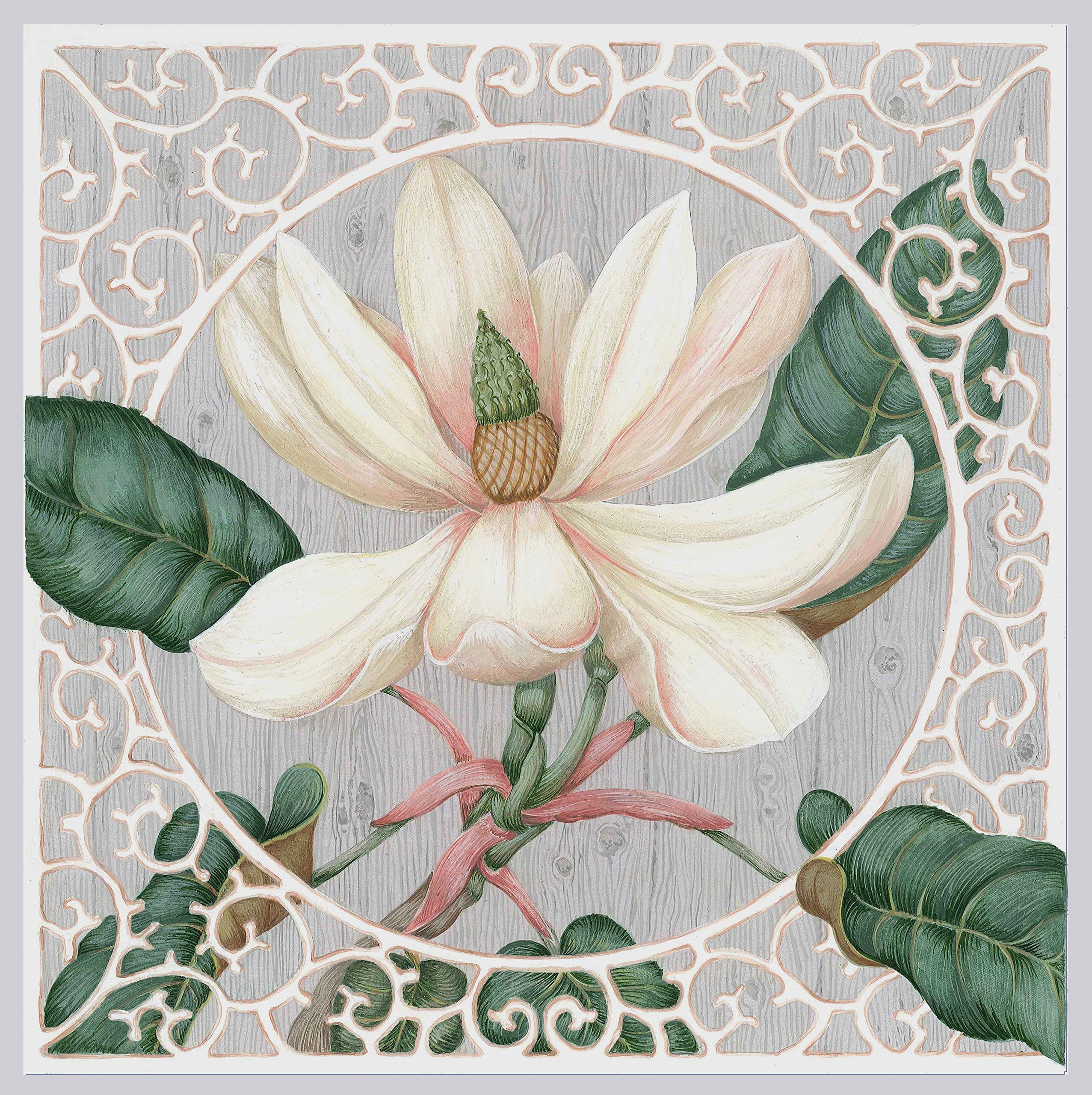 TROMPE L'OEIL BOTANICAL - MAGNOLIA - 48 inches Square. From an original painting by CHUCK FISCHER, this beautiful signed botanical print of a flowering magnolia is one of three flowers currently available in the TROMPE L'OEIL BOTANICAL SERIES. Printed on fine canvas suitable for mounting or framing. Available in four sizes: 18 - 24 - 36 - 48 inches.