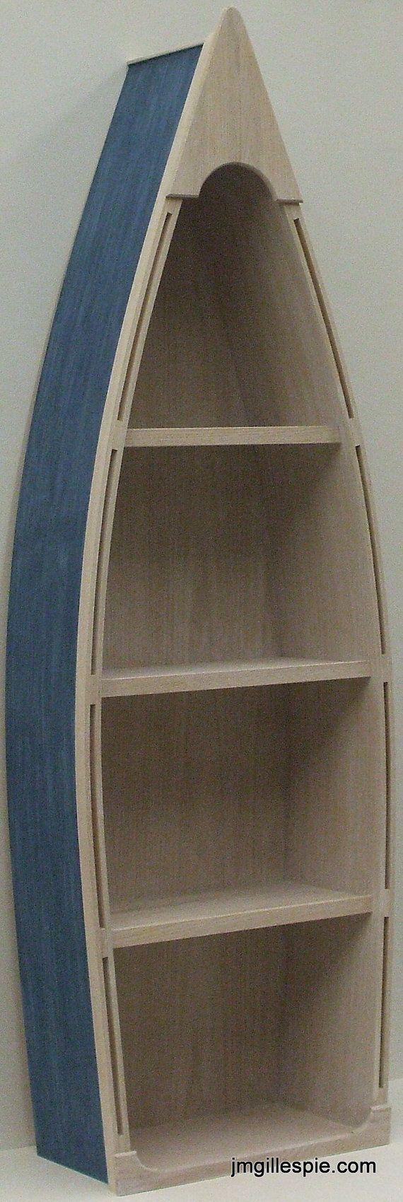 5 Foot Blue Row Boat Bookshelf Bookcase Shelves Skiff Schooner