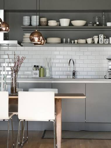 Grey Kitchen Interior Design Copper Lighting Subway Backsplash Cool Backsplash Lighting Model