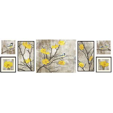 Awesome Yellow Botanical 7 Pc. Wall Decor Set $90 60x16 Jc Penney