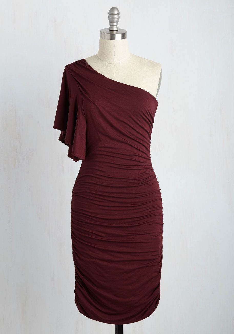 Tasting Room Sheath Dress in Wine. Tonight, you experience the winerys finest offerings looking your most fabulous in this burgundy one-shoulder dress. #red #modcloth