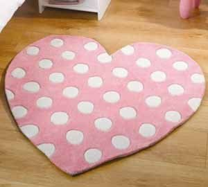 Childrens Pink Polkadot Heart Shaped Rug S 90cm X 3ft