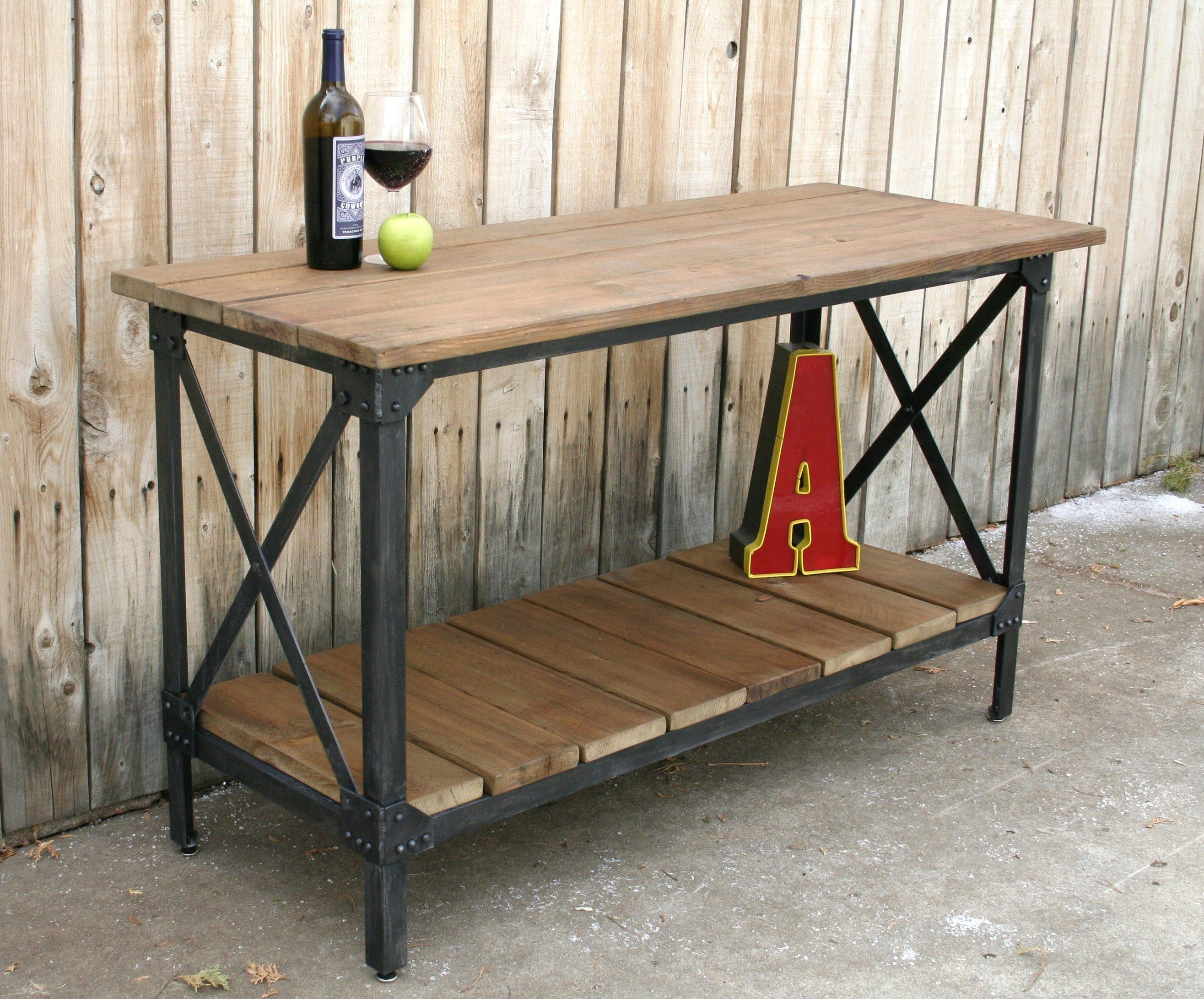 Wood Metal Rustic Console Table Accent Liquor Cart Kitchen Island Occasional