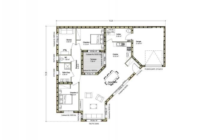 Plan Maison Bois Patio Toit Plat Contemporain Design | Maison