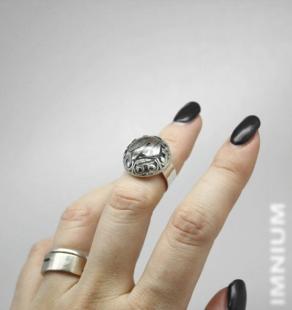 Tourmalinated quartz pinkie ring - US 4 3/4 small gemstone ring, black rutilated quartz in sterling silver, knuckle ring wide band