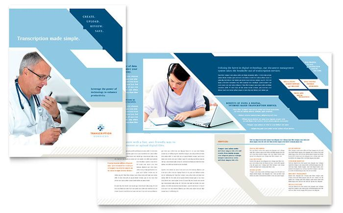 Medical Transcription Brochure Design Template by StockLayouts - microsoft brochure template