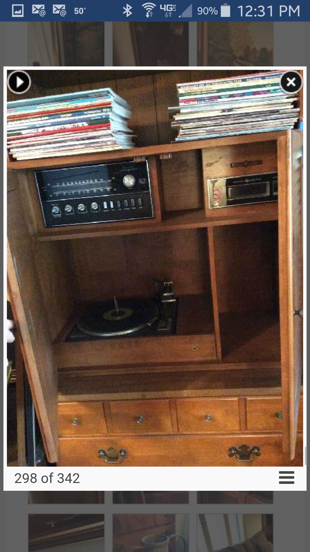 Close Up Of Stereo Cabinet Hutch Built In Receiver And 8