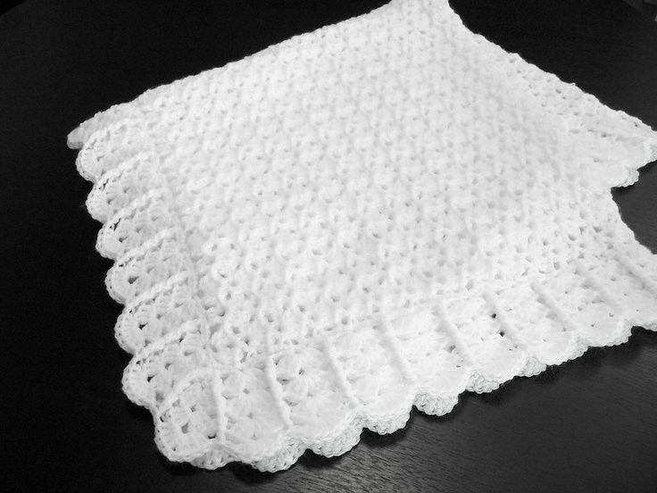 Crochet Baby Blanket Christening Baby Blanket White Baby
