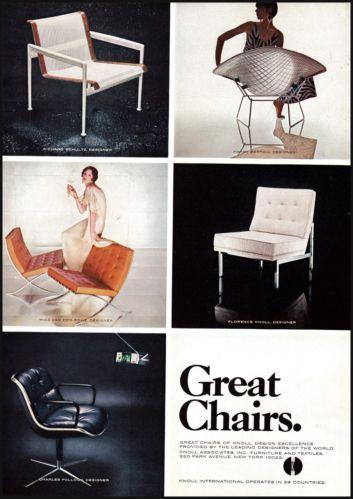 1968 Knoll International Chairs Original Vintage Print Ad Vintage ...