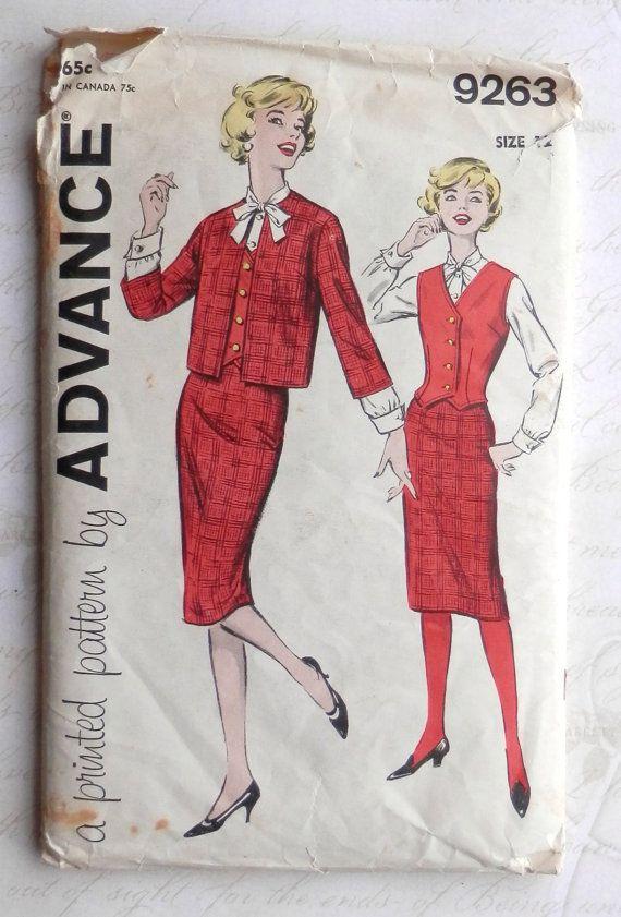 1960's 4 Piece Suit  pencil Skirt  Size 12 door nostalgictreasures, $20.00