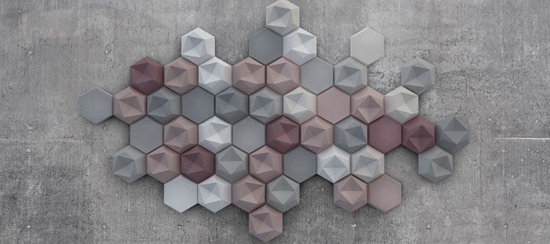Edgy : Three-Dimensional Hexagonal Concrete Tiles that Cover Complete Wall & Edgy : Three-Dimensional Hexagonal Concrete Tiles that Cover ...