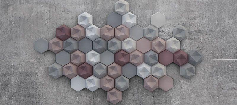 Edgy : Three-Dimensional Hexagonal Concrete Tiles that Cover Complete Wall & Edgy : Three-Dimensional Hexagonal Concrete Tiles that Cover ...