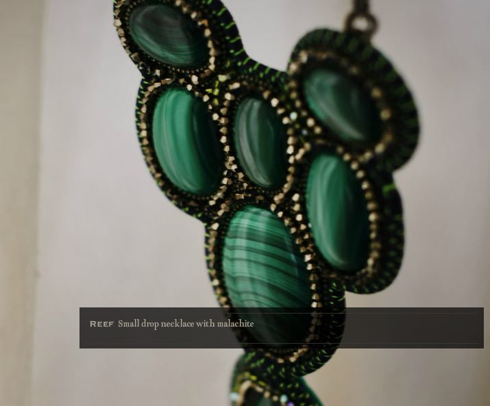 REED - small drop necklace with malachite