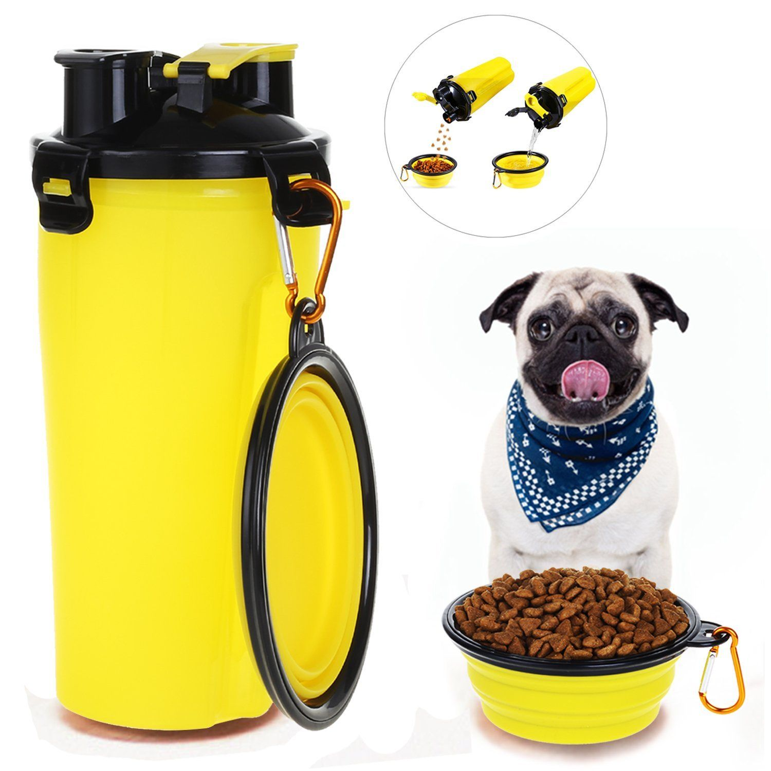 Pet Supplies Hapito Travel Pet Water Bottle Dog Water Dispenser With Bowl 2 In 1 Portable Dog Mug Food Con Dog