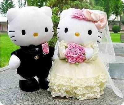e205364675 Hello Kitty Plush Doll Wedding Couple New Pink Gift Stuffed Cute Cat Toy  Figures