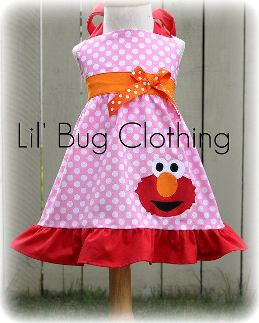 Elmo on pink with white polka dots