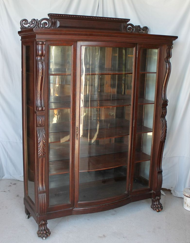 Large antique carved oak china curio cabinet original