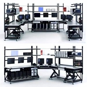 Computer Desk For 3 Monitors Lan Stations Work Benches Modular Systems For Virtually Any Layout Bancada De Trabalho Design De Moveis Bancada Eletronica