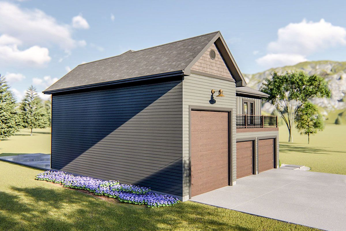 Plan 62768DJ Guest House Plan with RV Garage and Upstairs