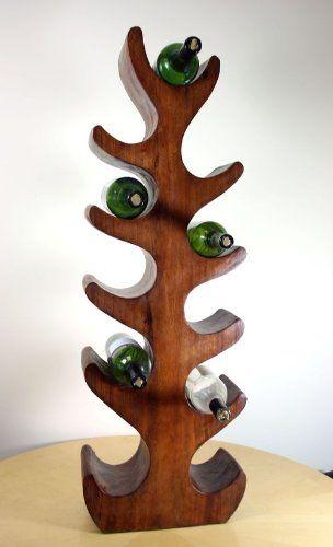 11 Soporte para botellas de vino de madera maciza oscura