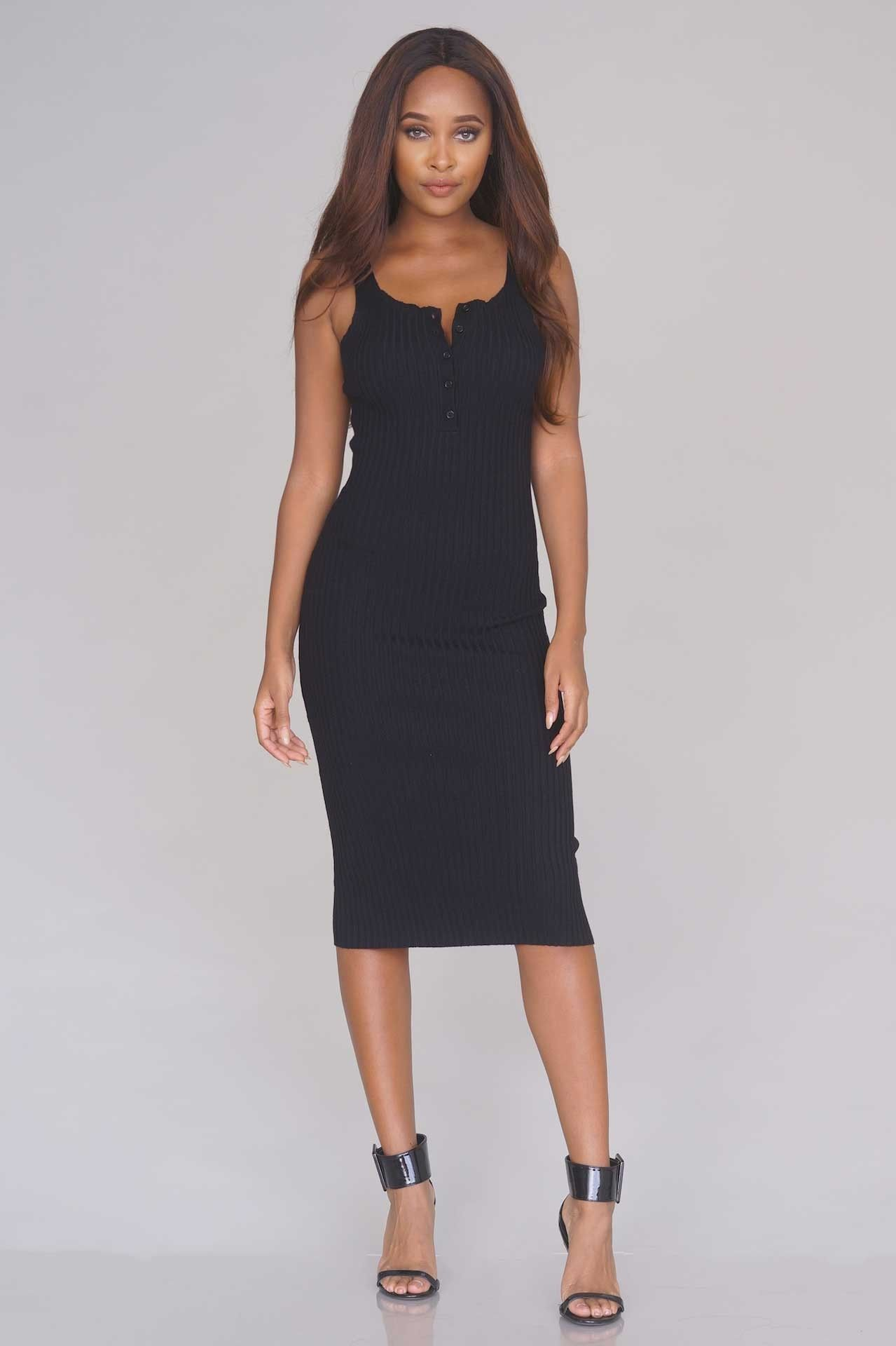Sleeveless ribbed midi dress black new arrivals outfit