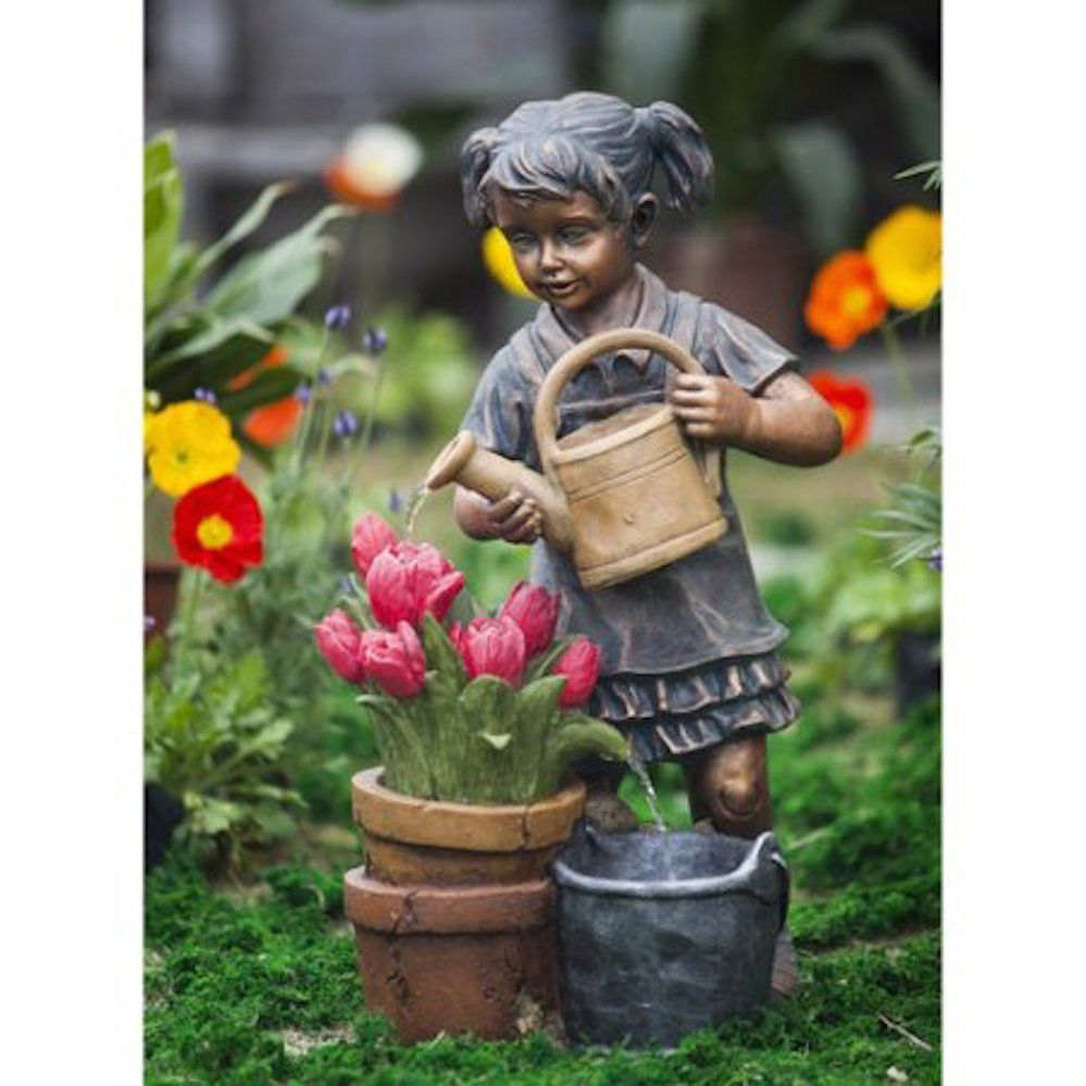 Garden Statues Of Children Lawn And Garden Decor Water Fountain Cute ...