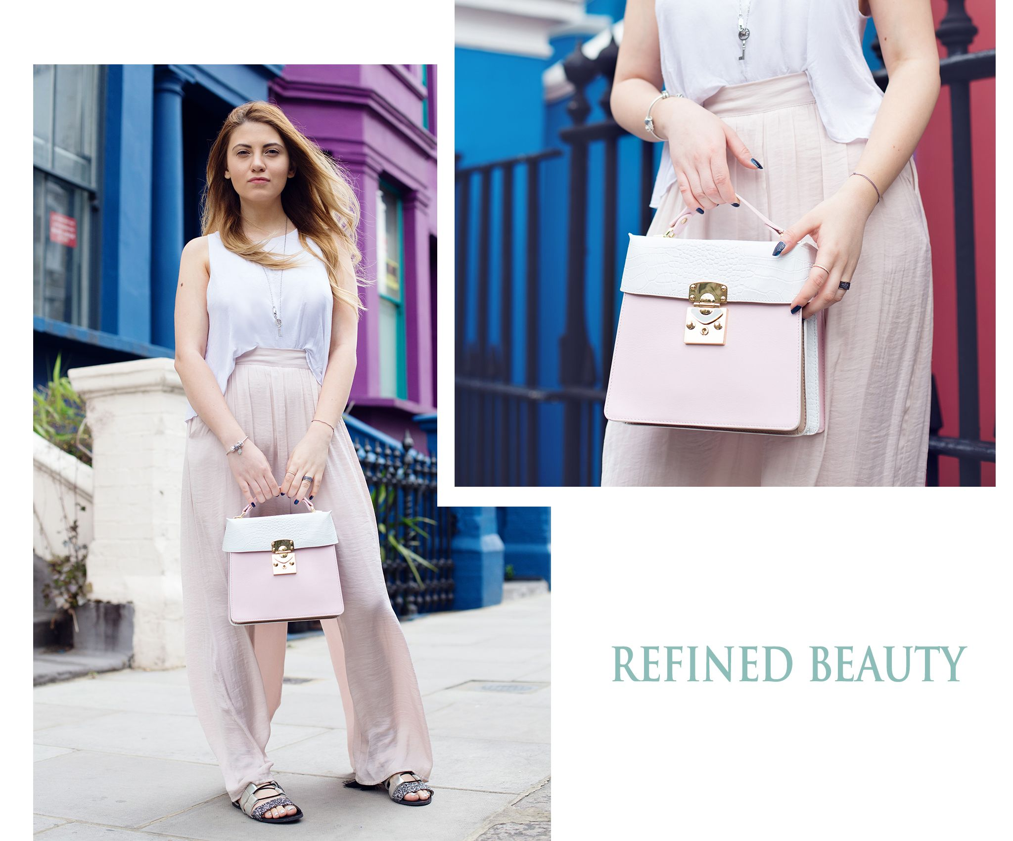 The new Amanda pink leather bag has a simple, yet stylish elegant vibe meant to offer your outfit a feminine look. Wear it next to silky tops and trousers colored in delicate  nude shades.