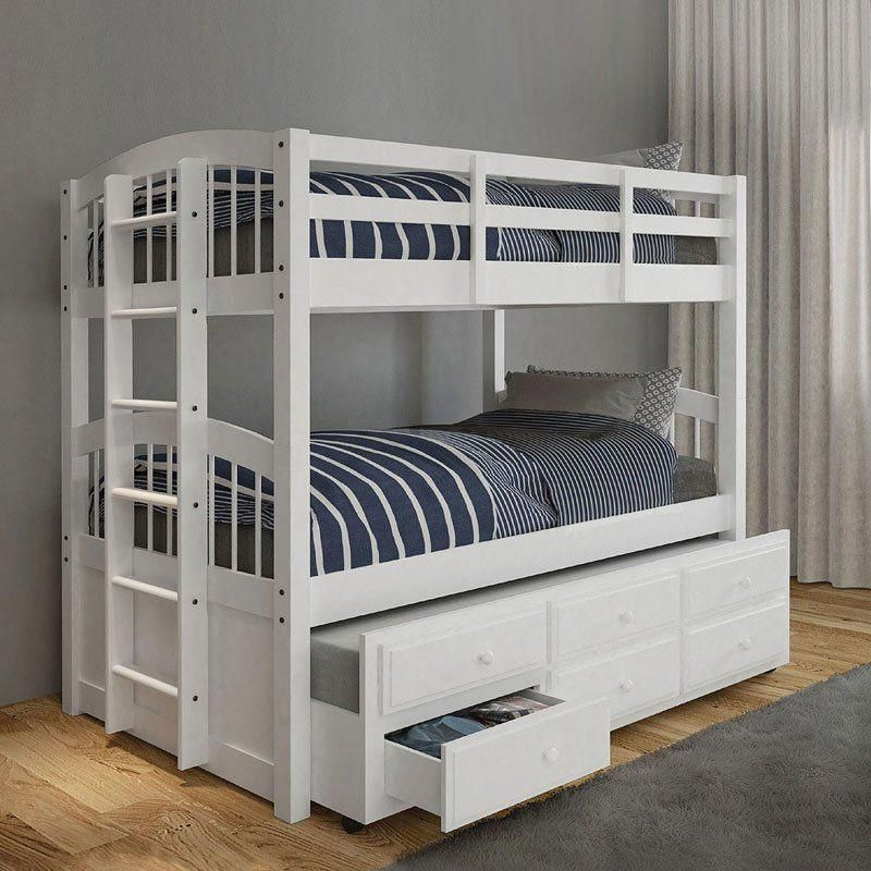 Micah Twin Bunk Bed w/ Trundle (White) Twin bunk beds
