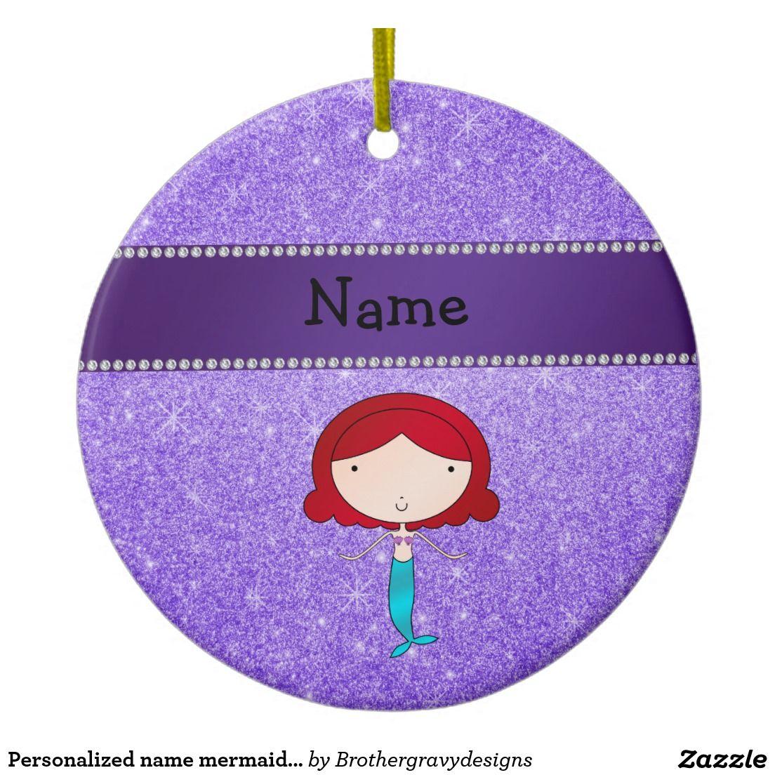 Personalized name ornaments - Personalized Name Mermaid Purple Glitter Ceramic Ornament