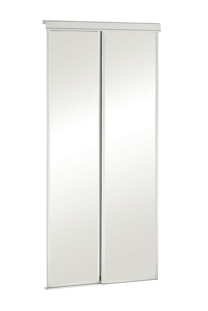 36 Inch White Framed Mirrored Sliding Door