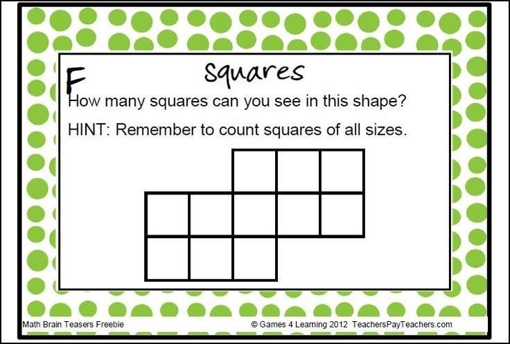 Squares | Brain teasers, Math, Fun math