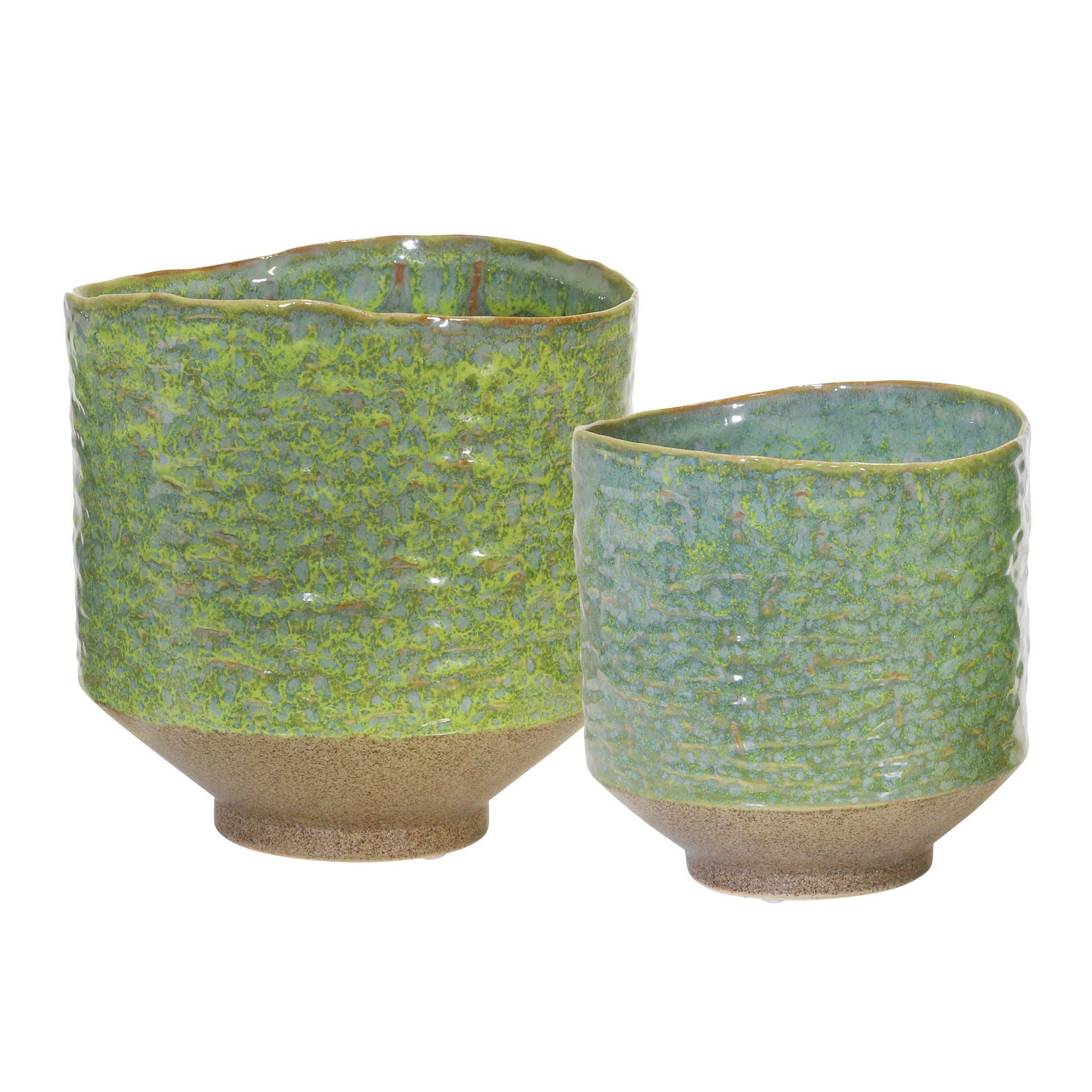 Ceramic Planters 8 6 5 Sage Green Set Of 2 Sagebrook Home 13957 02 Ceramic Planters Ceramics Planters