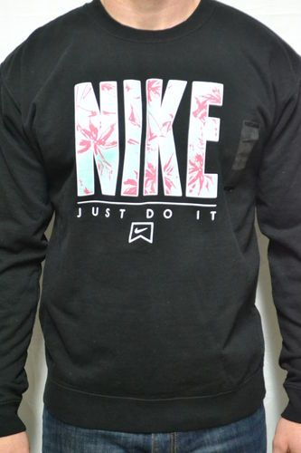 9f88b42990f1 Nike Mens L Large Graphic Logo Palm Trees Crew Neck Fleece Sweatshirt Black  New