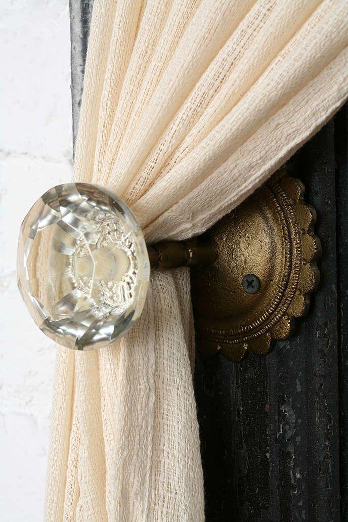 Vintage Crystal Door Knob Curtain Tie Back on White