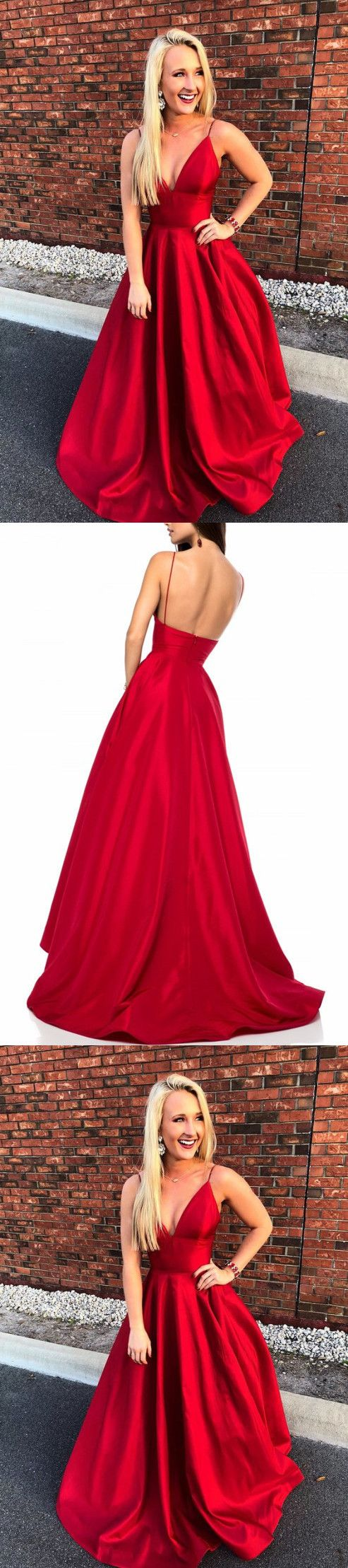 Simple red straps aline vneck prom dresslong evening dress m