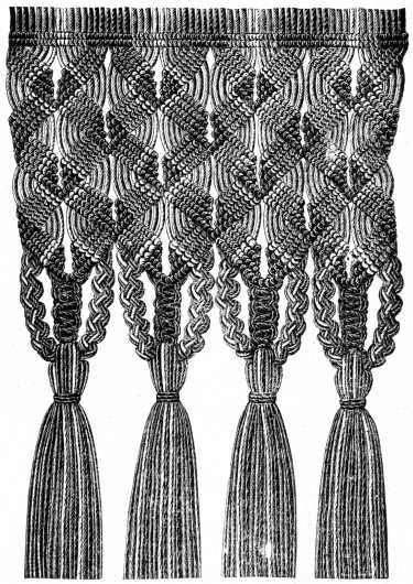 FIG. 560. MACRAMÉ FRINGE.   Nice website with step by step directions with good diagrams to illustrate what the steps look like.